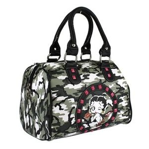 Camouflage Betty Boop Satchel Bag Purse